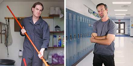 A man in coveralls holding a mop, standing in a janitor's closet, and a man with arms folded standing in a school hallway lined with lockers
