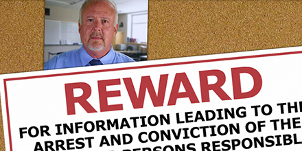 Excerpt of a reward poster along with a photo of a man with gray hair, mustache, and goatee on a bulletin board