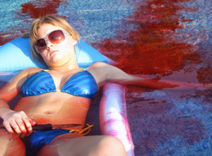 People initially thought notorious prankster Alyx had staged the scene in the pool