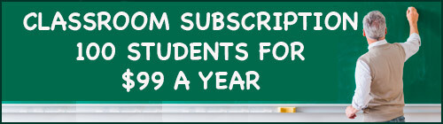 Teacher at a chalkboard with the message 'Classroom Subscription: 100 students for $99 a year'