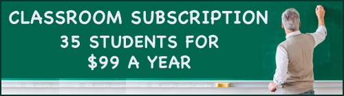 Teacher at a chalkboard with the message 'Classroom Subscription: 35 students for $99 a year'