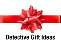 Gift bow with the label: Detective Gift Ideas