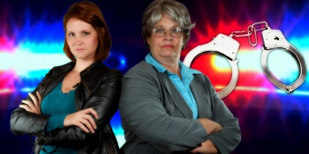 Woman with short red hair and a woman with short gray hair, both with arms folded, and police lights and handcuffs in the background